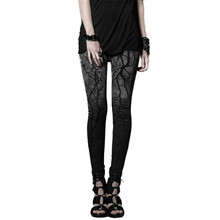 Punk Women Skinny Leggings Gothic Branches Hanging Coloured Cotton Leggings Trousers High Wiasted Strentch Leggings