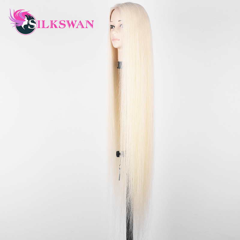 SilkSwan Full Lace Wig 613 Blonde Straight Virgin Hair Wigs for Pre Plucked With Baby Hair Transparent Lace 40 44 Inch HD Lace in Human Hair Lace Wigs from Hair Extensions Wigs