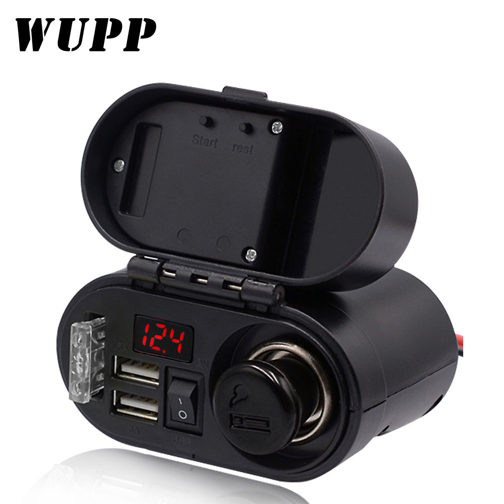 WUPP Moto Motorcycle Cigarette Lighter Socket Waterproof Voltmeter Dual USB Quick Charger Motorbike Electronic Accessory Clock