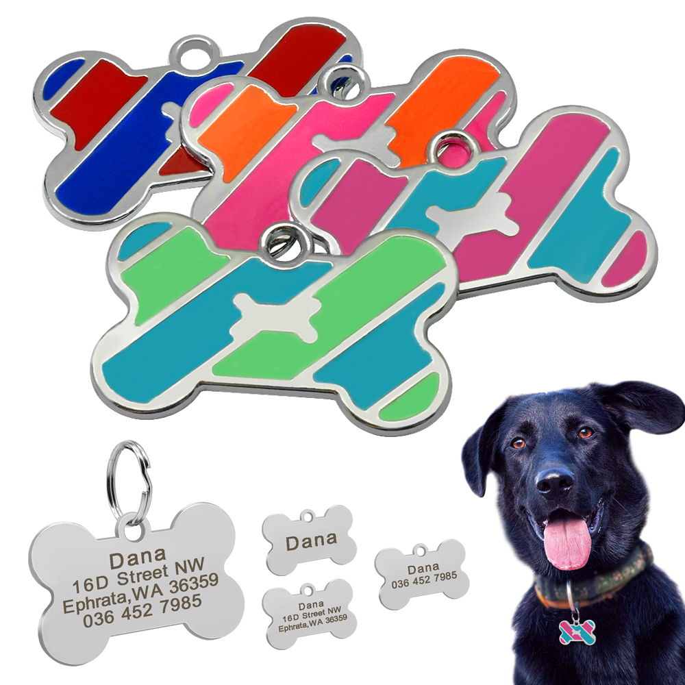 Dog Tag Custom Pet Bone Name Tags Stainless Steel Dog Collar Accessories Anti-lost Puppy Cat Nameplate Tag Personalized Engraved
