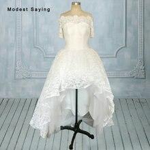 modest saying Elegant Short Sleeves Wedding Dresses 2018