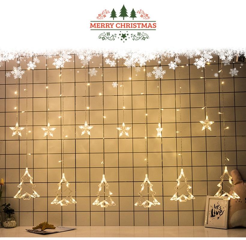Elk/estrelas ano novo decorações de natal para casa decorações de árvore de natal ornamentos de natal guirlanda navidad 12 lâmpada. q