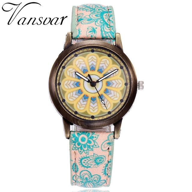 Dropshipping Women Creative Flower Watches Ladies Fashion Casual Leather Quartz Wristwatches Gift Clock Relogio Feminino Hot 3