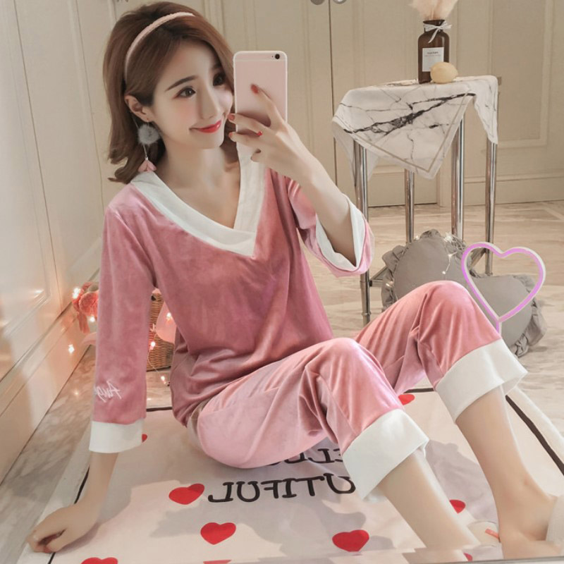 ROSASSY  Trendy Women V-Neck Pleuche Pajamas Set Two-Piece Female Sleepwear for Autumn Winter Pajamas Party New Drop Ship