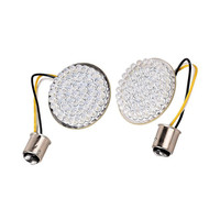 2pcs Motorcycle White Red 2Bullet Style 1157 LED Turn Signal Inserts For Harley Dyna Tri Glide Sportster Touring