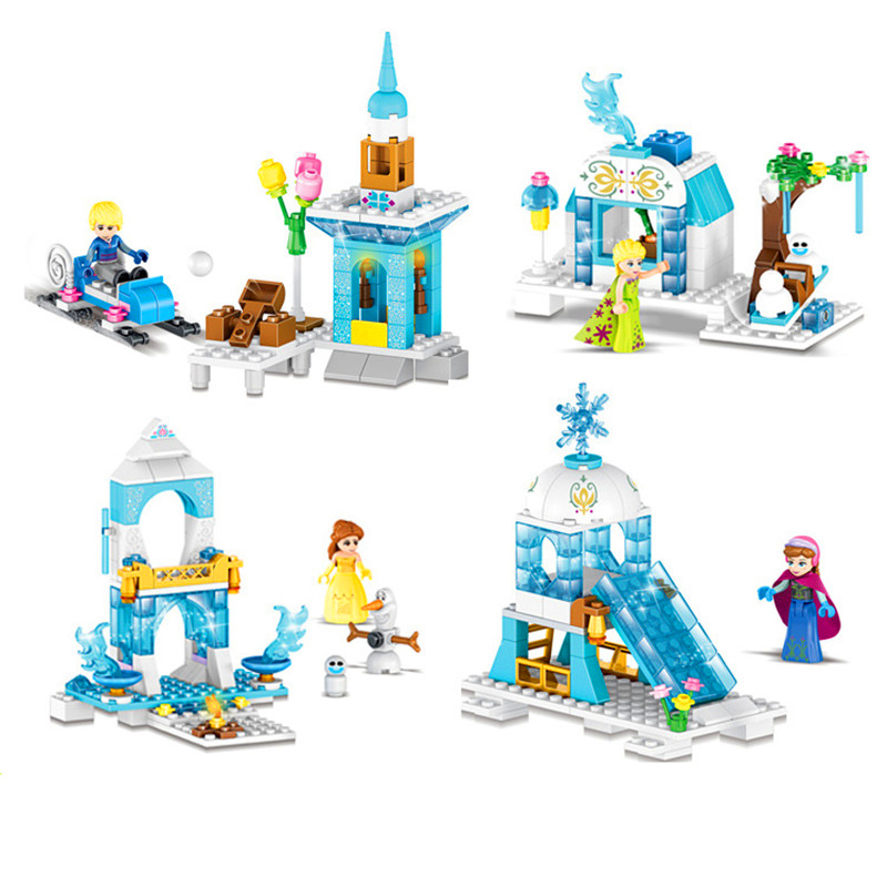 Princess Anna Elsa Snow Queen ElsaS Sparkling Ice Castle Building Blocks Christmas Gift For Childrens