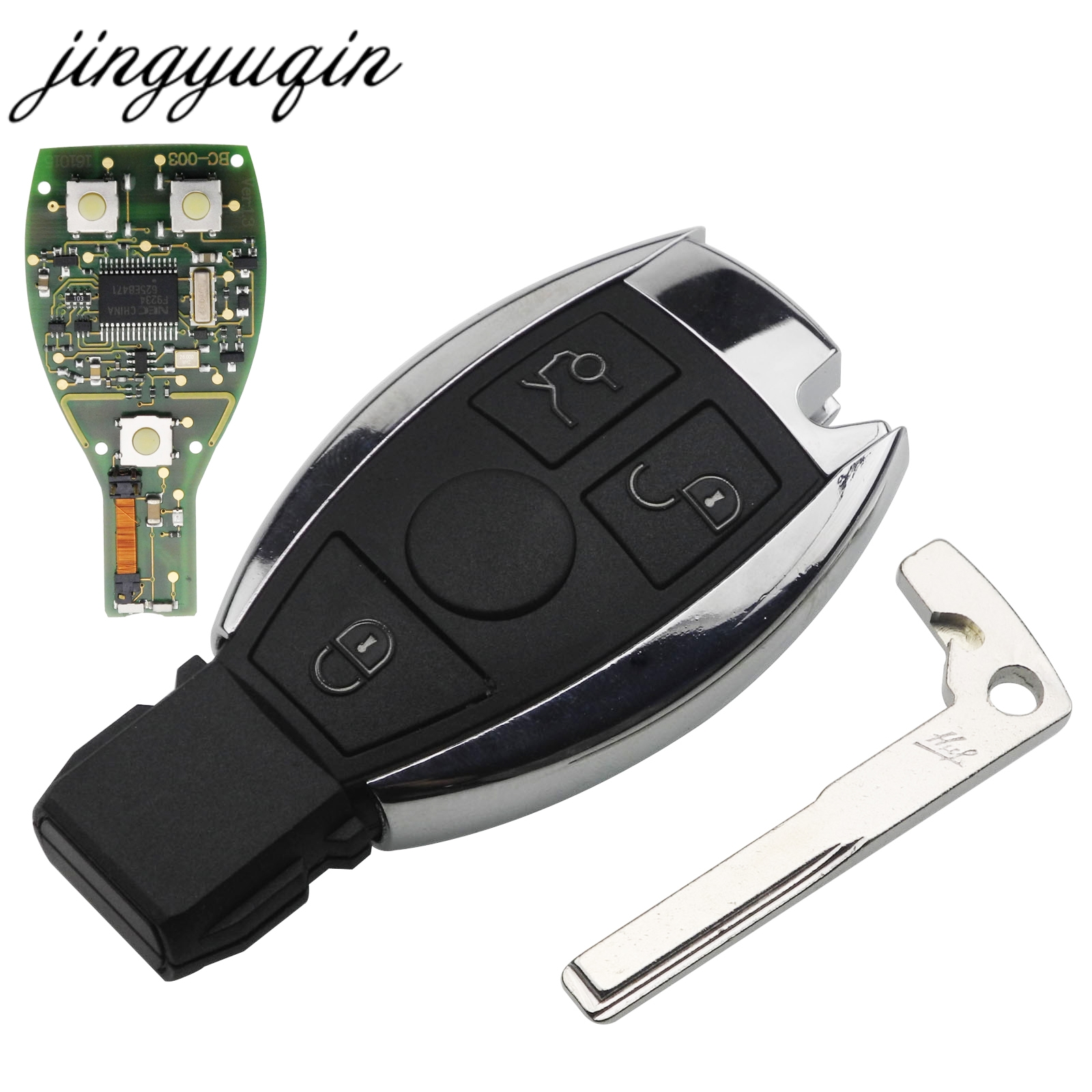 Jingyuqin 3 Bouton Clé De Voiture À Distance Fob Remplacement Pour Mercedes pour Benz année 2000 + NEC et BGA D'entrée Sans Clé contrôle 433 mhz