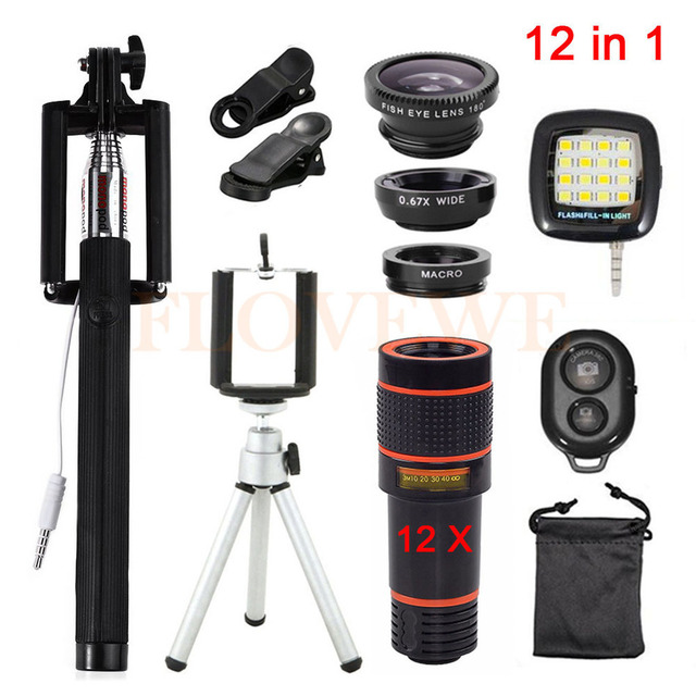 12in1 Phone Lentes Kits 12x Zoom Telephoto Lens Tripod Holder Fill Light 3in1 Fisheye Wide Angle Macro Lenses For iPhone Xiaomi