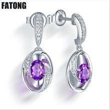 цены New 925 sterling silver oval amethyst stud earrings, women's high quality stud earrings. J005