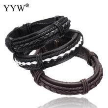 Fashion Genuine Leather Bracelets Men Jewelry Leather Wrap Vintage Brown & black Cuff wristband Men Women Unisex Gift