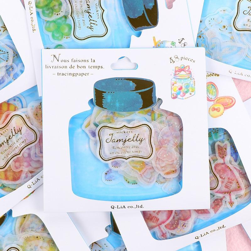48pcs/Set Creative Drifting Bottle Cartoon Animals Handmade Sticker For Diy Diary Kawaii Decorative Adhesive Scrapbook Stickers