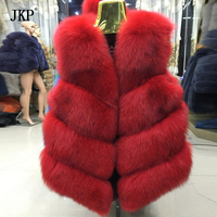 На зимнем меху жилет пальто Для женщин лиса Мех животных жилет короткий Пальто для будущих мам Куртка высокого качества