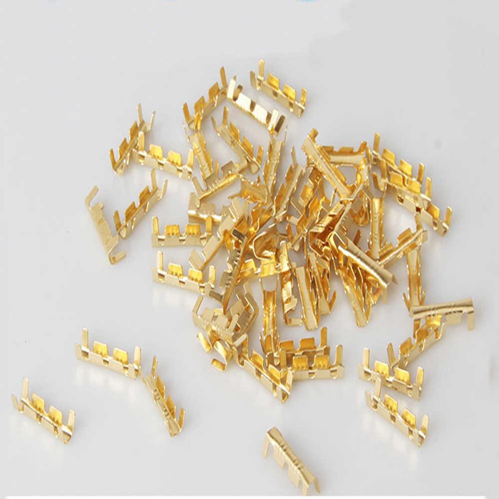 100 шт Золотой u-образный латунный зажим для пряжки гнездовое Соединение Линия нажатие кнопки можно использовать, когда линия не достаточно длинная