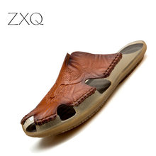 Summer Slippers Men Hollow Out Breathable Beach Sandals Shoes Male Casual Flats Flip Flops zapatos Leather Footwear