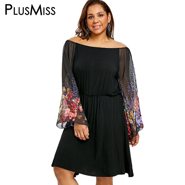 60e3daa8b27 PlusMiss Plus Size 5XL Flower Printed Sheer Mesh Sexy Dress Women Off The  Shoulder Loose Bell Flare Sleeve Dresses 2018 Big Size