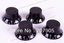 4 x Black Top Hat Speed Control Knobs For Electric Guitar
