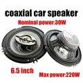 Best selling carro coaxial altofalante do carro um par de 6.5 polegada falante estéreo suporte de áudio tweeter baixo função max music power 220 W