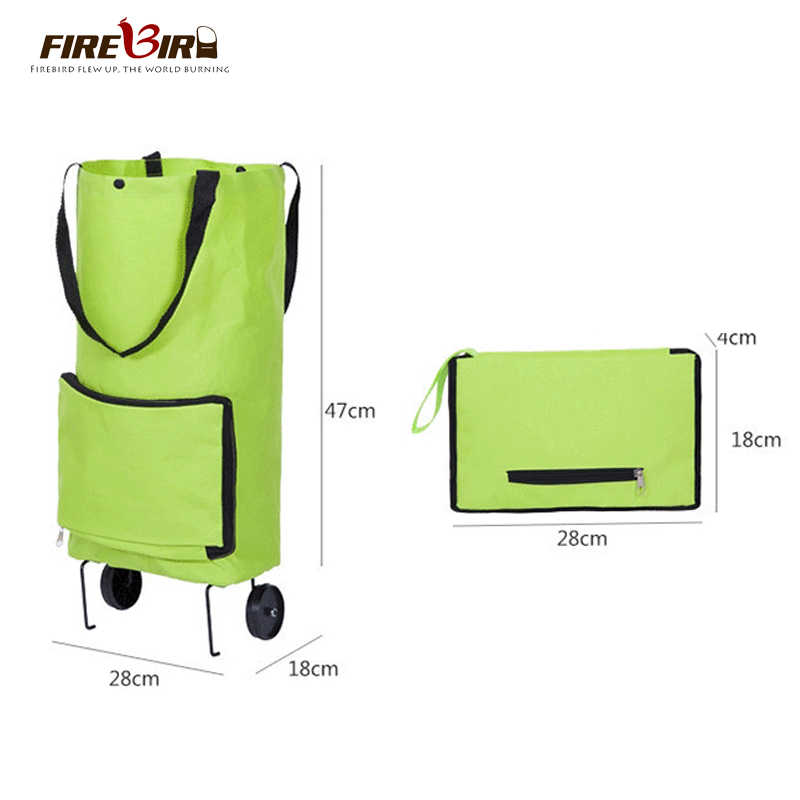tote Reusable shopping bag Foldable Shopping Trolley Wheel lightweight Folding Bag Traval Cart Green FN696