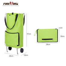 f011eb16a8c Bolso de compras reutilizable bolsa de compras plegable rueda carro ligero  plegable bolsa de viaje carro verde FN696
