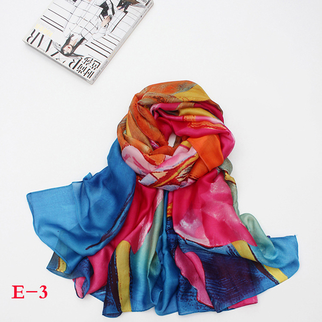 Women Natural Silk Scarf Shawl High quality from 2017 new china fashion print style large size 190*100cm