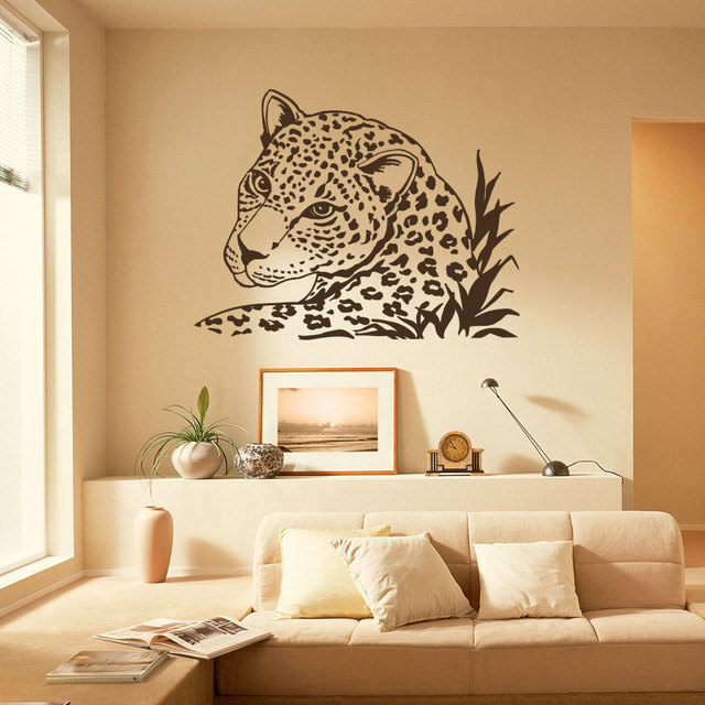Schlafzimmer Afrikanisch Dekorieren: Wandtattoo Leopard Tiger Wildkatze Afrikanische Tiere