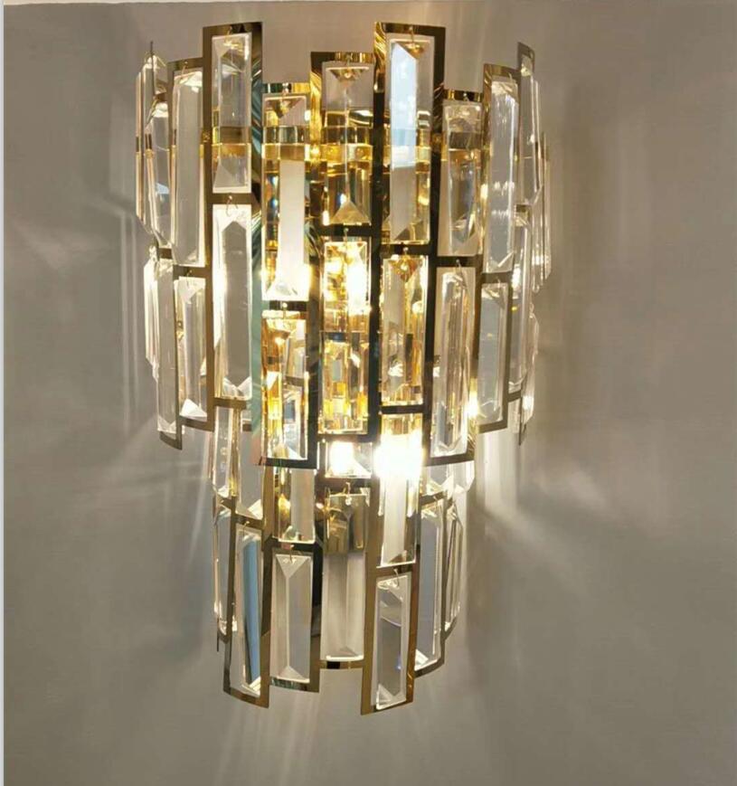 Luxury modern crystal wall lamp model room living corridor art