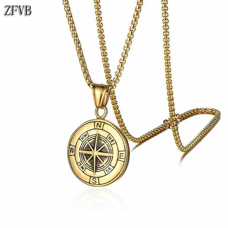 ZFVB Vintage Compass Necklace for Men Chain Stainless Steel Gold color Rudder Compass Stars Necklaces Sailor Navy Male Jewelry