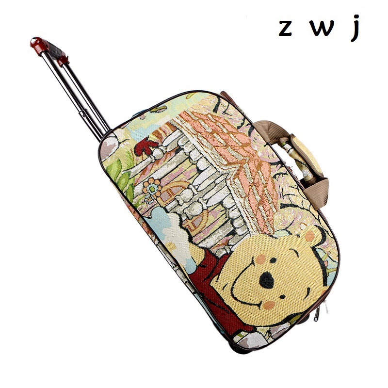 20 inch Lovely Winnie the Pooh luggage  Wheel Travel Duffle Cartoon Trolley Travel Bag20 inch Lovely Winnie the Pooh luggage  Wheel Travel Duffle Cartoon Trolley Travel Bag