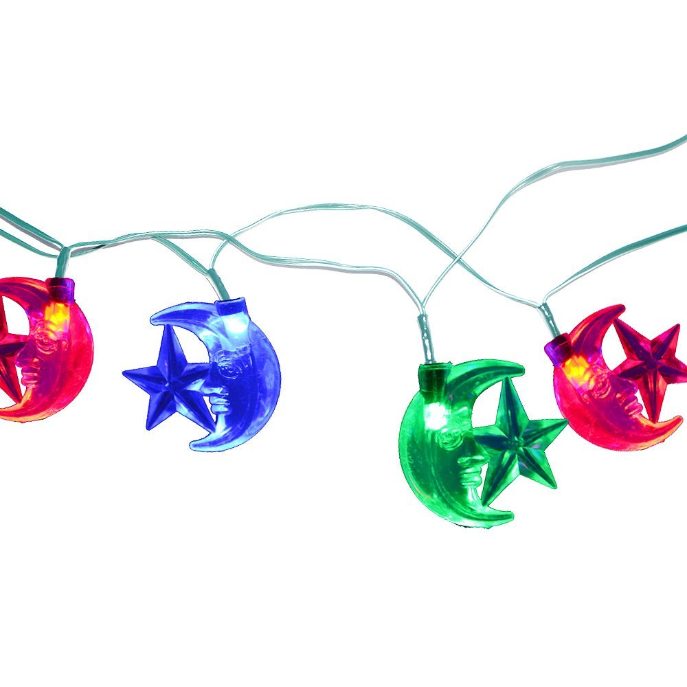 Solar powered 25ft40 LED Stars and Moons Festival String Light outdoor lighting party Christmas decoration lamps for garden