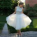 Junior Short Prom Dresses White 2016 for Teens  High Neck Beaded With Rhinestone A Line Tulle Tea Length Vestidos para formatura