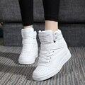 Plataforma das mulheres sapatos casuais Altura Crescente 8 CM sapatos 35-40 sapatos Brancos mulher Borracha 2016 novo primavera Cunha 7 Cores