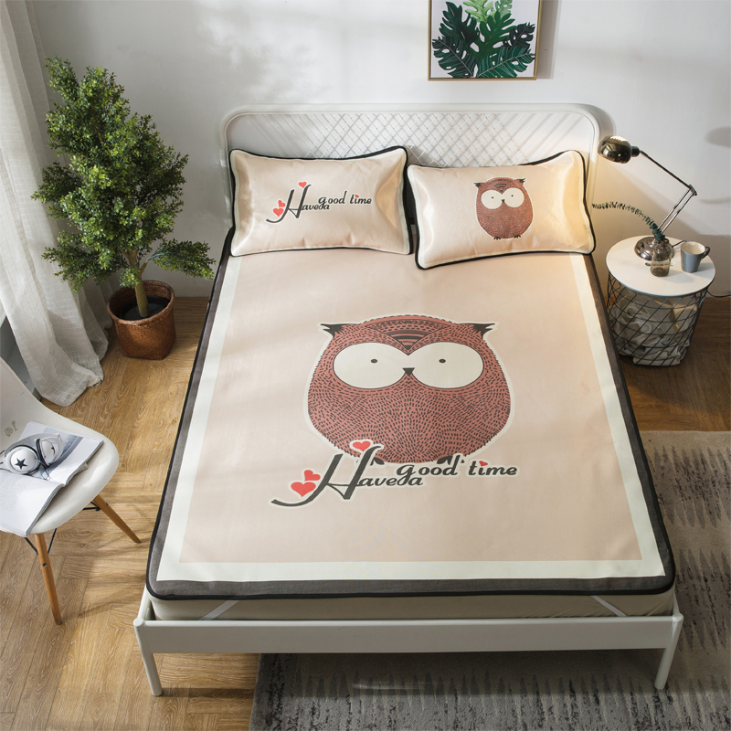 Cartoon Owl Summer Cool Mat Kit Bed Protection Pad Polyester Fabric 2/3Pcs Pillow Cases Twin Full Queen Mattress Pad