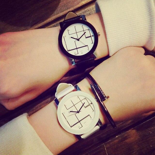 Hot Fashion Casual Couple Lovers Men Women Clock Leather Band Big Dial Quartz An