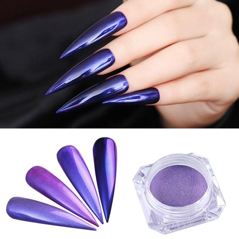 Purple Chrome Nail Art: 1 Box Purple Mermaid Pearl Nail Pigment Powder Glitters
