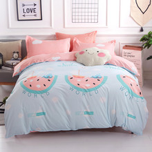 Blue Sea World and pink bed sheet 4PCS bedding set white clouds bedclothes cover linen queen king bedspread