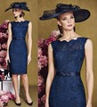 Honey Qiao Mother of the Bride Dresses Navy Blue Full Lace Short Knee Length Madre de los vestidos Fashion O-Neck Formal Gowns