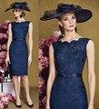 Honey qiao mãe dos vestidos de noiva azul marinho cheia do laço curto Comprimento Do Joelho vestidos Madre de los Moda O Pescoço Vestidos Formais