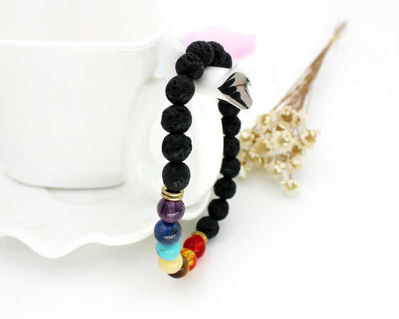 2019 nouvelle mode femmes volcan lave Balance perle Reiki naturel bracelet breloque pierre