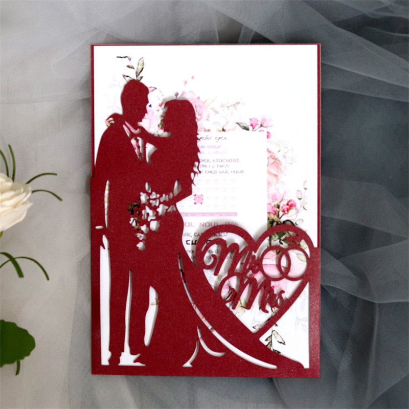 Romantic Wedding Invitation Mr Mrs Laser Cut Card Bridal Shower Save The Day Supply Personalized Printing 50pcs/lot