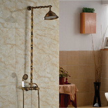 Shower Faucet Wall Mounted Antique Brass with Rainfall Shower Head Bathroom Shower Mixer Taps