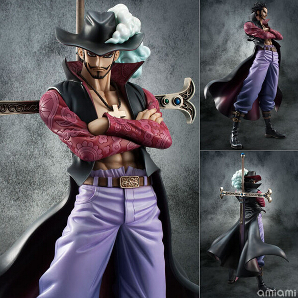 New J.G chen anime one piece Dracule Mihawk eye pvc action figure collection model toy 26cm hot sale free shipping new hot 26cm one piece big dracule mihawk action figure toys doll collection christmas toy no box