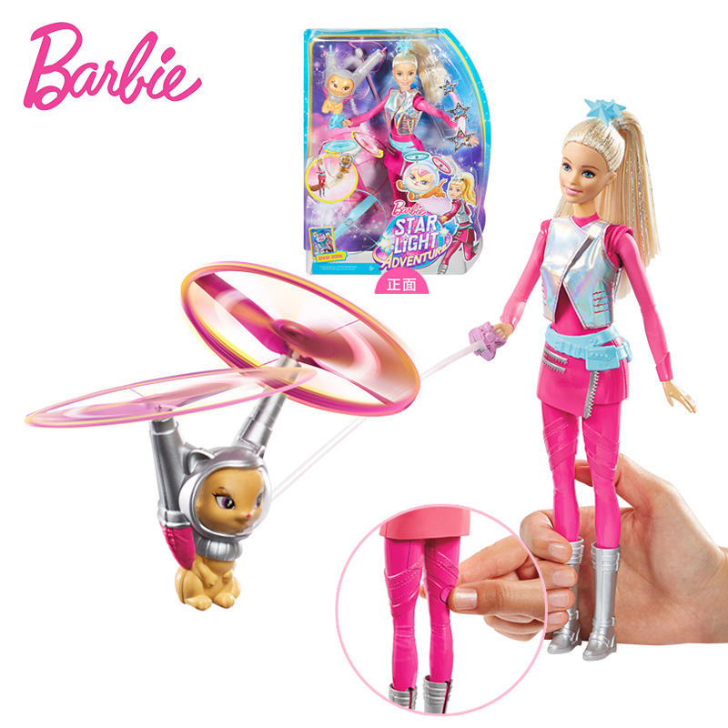Original Barbie Toys Barbie Doll Star Light Adventure Barbie Flying Pet Cat Set Action Figure Barbie Model Toys Gift for Girls large 24x24 cm simulation white cat with yellow head cat model lifelike big head squatting cat model decoration t187