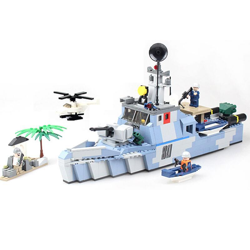 GUDI City Military Navy Warships Destroyer Battleship Building Blocks Sets Bricks Model Kids Toys Compatible Legoe