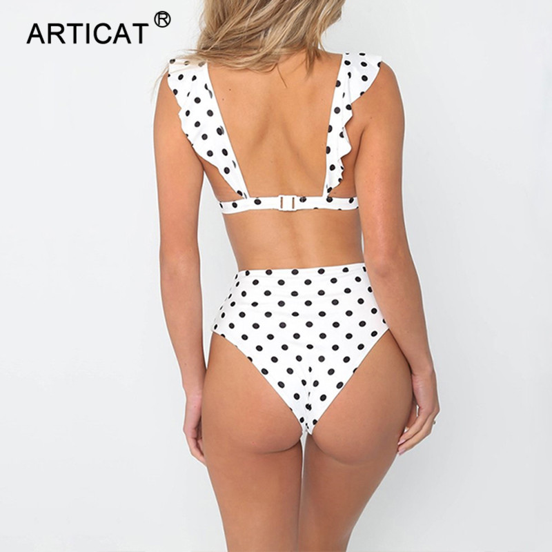 Articat Black Dot Print Two Piece Set Sexy Bodysuit Women Swimsuit V Neck Backless Summer Rompers Womens Jumpsuit Beach Overalls
