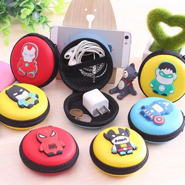 נייד מיני קריקטורה גיבור אחסון תיק לאוזניות, U דיסק, מטבעות, מפתחות, זיכרון כרטיסי חמוד רוכסן PU קטן נסיעות פאוץ Case