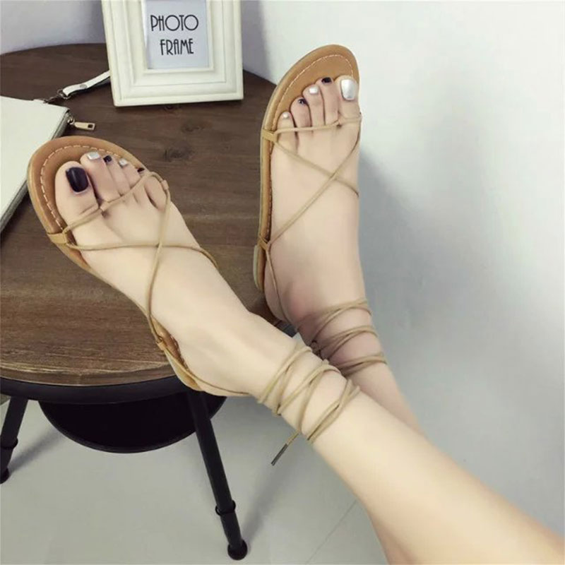 HTB1YVDpXv1H3KVjSZFBq6zSMXXaT Summer Women Gladiator Flat Heels Strappy Cross-tied Sandals Ladies Casual Solid Lace-Up Black Khaki Sandals Size 35-39