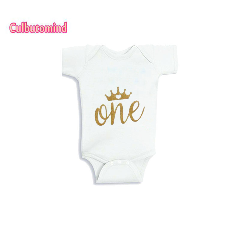 Culbutomind New born Baby Clothes for Boy Girl Party Shower Gift Summer Baby First Birthday GoldenOne Baby Bodysuit Short Sleeve