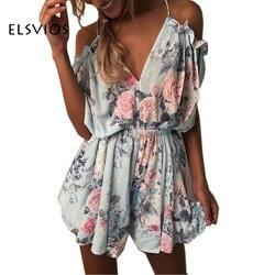 ELSVIOS Для женщин комбинезон принт кружевной комбинезон летние шорты плиссированные комбинезоны комбинезон женский обернутый вокруг груди