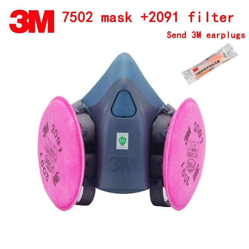 3 M 7502 masque + 2091 filtre respirateur masque anti-poussière véritable haute qualité masque respiratoire contre particules suie masque en fibre de verre