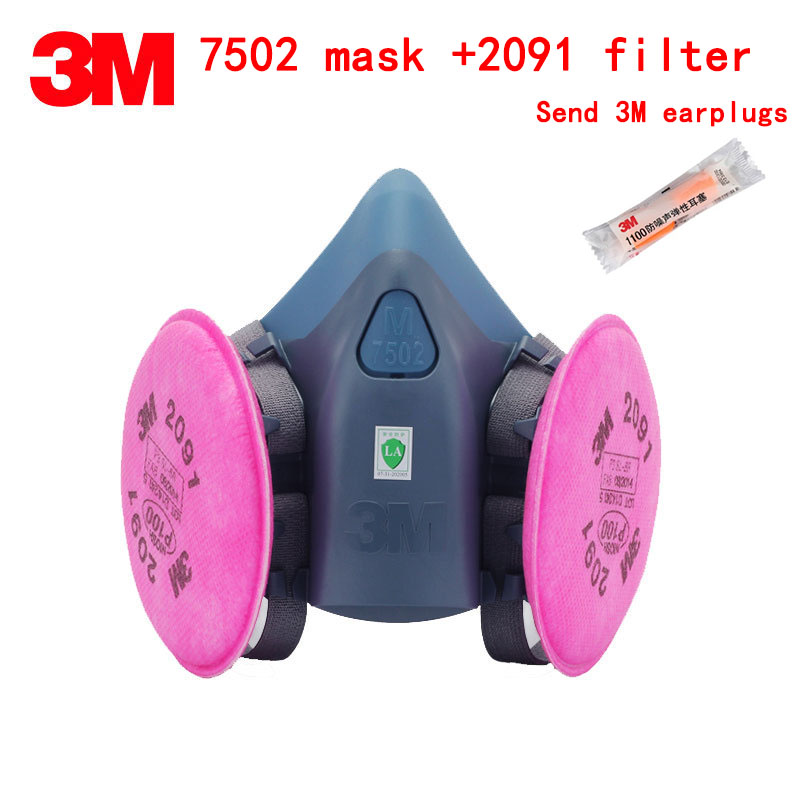 3M 7502 mask +2091 filter respirator dust mask Genuine high quality respirator mask against particulates Soot glass fiber mask цены онлайн